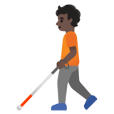 Person with White Cane: Dark Skin Tone on Google Android 11.0 December 2020 Feature Drop