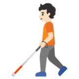 Person with White Cane: Light Skin Tone on Google Android 11.0 December 2020 Feature Drop
