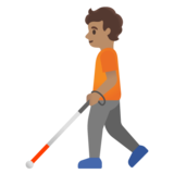 Person with White Cane: Medium Skin Tone on Google Android 11.0 December 2020 Feature Drop