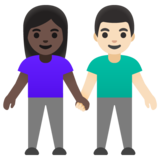 Woman and Man Holding Hands: Dark Skin Tone, Light Skin Tone on Google Android 11.0 December 2020 Feature Drop