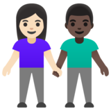 Woman and Man Holding Hands: Light Skin Tone, Dark Skin Tone on Google Android 11.0 December 2020 Feature Drop