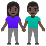 Woman and Man Holding Hands: Dark Skin Tone on Google Android 11.0 December 2020 Feature Drop