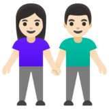 Woman and Man Holding Hands: Light Skin Tone on Google Android 11.0 December 2020 Feature Drop