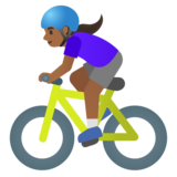 Woman Biking: Medium-Dark Skin Tone on Google Android 11.0 December 2020 Feature Drop