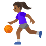 Woman Bouncing Ball: Medium-Dark Skin Tone on Google Android 11.0 December 2020 Feature Drop