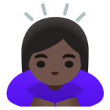 Woman Bowing: Dark Skin Tone on Google Android 11.0 December 2020 Feature Drop