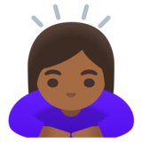 Woman Bowing: Medium-Dark Skin Tone on Google Android 11.0 December 2020 Feature Drop