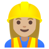 Woman Construction Worker: Medium-Light Skin Tone on Google Android 11.0 December 2020 Feature Drop