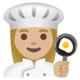 Woman Cook: Medium-Light Skin Tone on Google Android 11.0 December 2020 Feature Drop