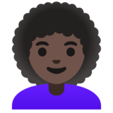 Woman: Dark Skin Tone, Curly Hair on Google Android 11.0 December 2020 Feature Drop