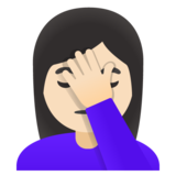 Woman Facepalming: Light Skin Tone on Google Android 11.0 December 2020 Feature Drop