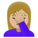 Woman Facepalming: Medium-Light Skin Tone on Google Android 11.0 December 2020 Feature Drop
