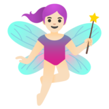 Woman Fairy: Light Skin Tone on Google Android 11.0 December 2020 Feature Drop