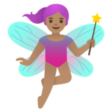 Woman Fairy: Medium Skin Tone on Google Android 11.0 December 2020 Feature Drop