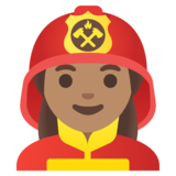 Woman Firefighter: Medium Skin Tone on Google Android 11.0 December 2020 Feature Drop