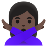 Woman Gesturing No: Dark Skin Tone on Google Android 11.0 December 2020 Feature Drop