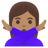Woman Gesturing No: Medium Skin Tone on Google Android 11.0 December 2020 Feature Drop