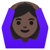 Woman Gesturing OK: Dark Skin Tone on Google Android 11.0 December 2020 Feature Drop