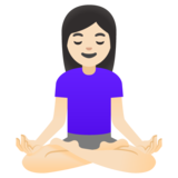 Woman in Lotus Position: Light Skin Tone on Google Android 11.0 December 2020 Feature Drop