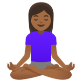 Woman in Lotus Position: Medium-Dark Skin Tone on Google Android 11.0 December 2020 Feature Drop