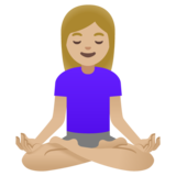 Woman in Lotus Position: Medium-Light Skin Tone on Google Android 11.0 December 2020 Feature Drop