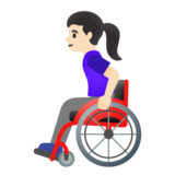 Woman in Manual Wheelchair: Light Skin Tone on Google Android 11.0 December 2020 Feature Drop