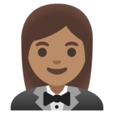 Woman in Tuxedo: Medium Skin Tone on Google Android 11.0 December 2020 Feature Drop