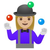 Woman Juggling: Medium-Light Skin Tone on Google Android 11.0 December 2020 Feature Drop