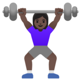 Woman Lifting Weights: Dark Skin Tone on Google Android 11.0 December 2020 Feature Drop