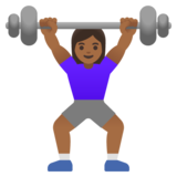 Woman Lifting Weights: Medium-Dark Skin Tone on Google Android 11.0 December 2020 Feature Drop