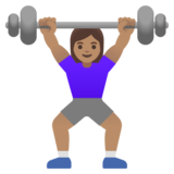 Woman Lifting Weights: Medium Skin Tone on Google Android 11.0 December 2020 Feature Drop