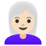 Woman: Light Skin Tone, White Hair on Google Android 11.0 December 2020 Feature Drop