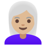 Woman: Medium-Light Skin Tone, White Hair on Google Android 11.0 December 2020 Feature Drop