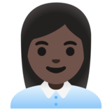 Woman Office Worker: Dark Skin Tone on Google Android 11.0 December 2020 Feature Drop