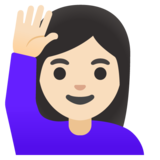 Woman Raising Hand: Light Skin Tone on Google Android 11.0 December 2020 Feature Drop