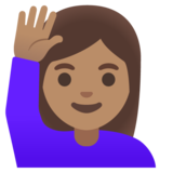 Woman Raising Hand: Medium Skin Tone on Google Android 11.0 December 2020 Feature Drop