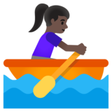 Woman Rowing Boat: Dark Skin Tone on Google Android 11.0 December 2020 Feature Drop