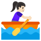 Woman Rowing Boat: Light Skin Tone on Google Android 11.0 December 2020 Feature Drop