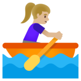 Woman Rowing Boat: Medium-Light Skin Tone on Google Android 11.0 December 2020 Feature Drop