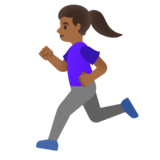 Woman Running: Medium-Dark Skin Tone on Google Android 11.0 December 2020 Feature Drop