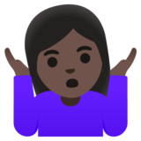 Woman Shrugging: Dark Skin Tone on Google Android 11.0 December 2020 Feature Drop