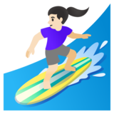 Woman Surfing: Light Skin Tone on Google Android 11.0 December 2020 Feature Drop