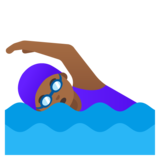 Woman Swimming: Medium-Dark Skin Tone on Google Android 11.0 December 2020 Feature Drop