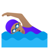Woman Swimming: Medium Skin Tone on Google Android 11.0 December 2020 Feature Drop