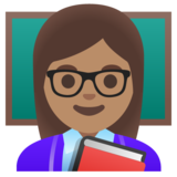 Woman Teacher: Medium Skin Tone on Google Android 11.0 December 2020 Feature Drop
