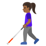 Woman with White Cane: Medium-Dark Skin Tone on Google Android 11.0 December 2020 Feature Drop
