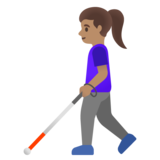 Woman with White Cane: Medium Skin Tone on Google Android 11.0 December 2020 Feature Drop