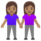 Women Holding Hands: Medium Skin Tone on Google Android 11.0 December 2020 Feature Drop