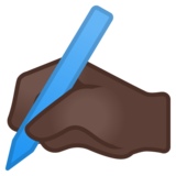 Writing Hand: Dark Skin Tone on Google Android 11.0 December 2020 Feature Drop