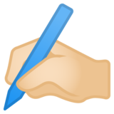 Writing Hand: Light Skin Tone on Google Android 11.0 December 2020 Feature Drop